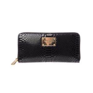 Michael Kors Continental Black Python Wallet